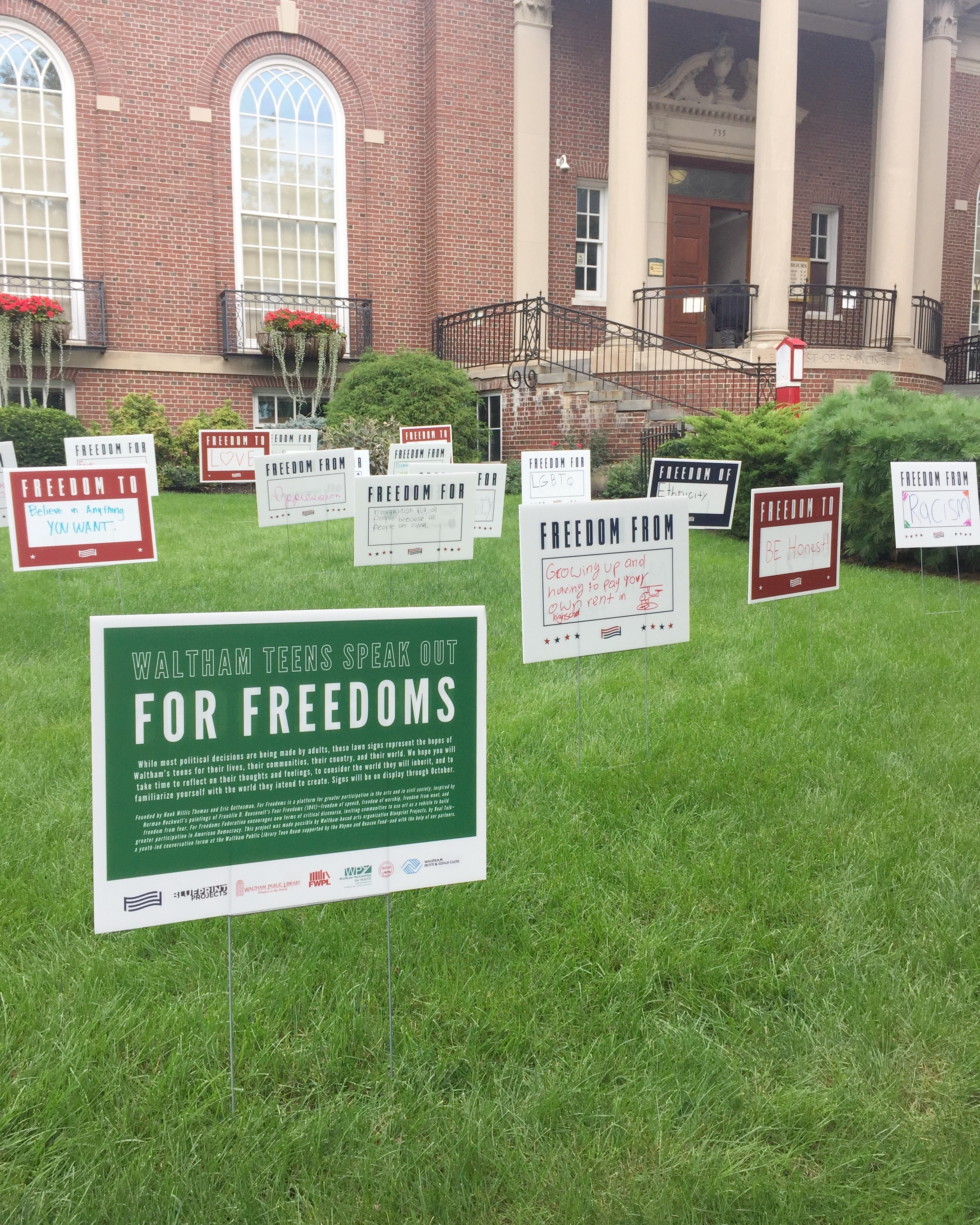 Blueprint Projects + Waltham Public Library Teen Room to host Lawn Sign Activation